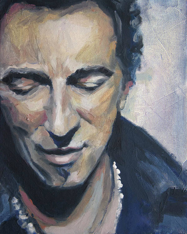 Bruce Print featuring the painting It's Boss Time II - Bruce Springsteen Portrait by Khairzul MG
