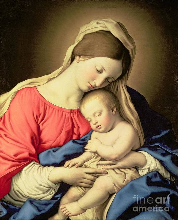 Madonna Print featuring the painting Madonna And Child by Il Sassoferrato