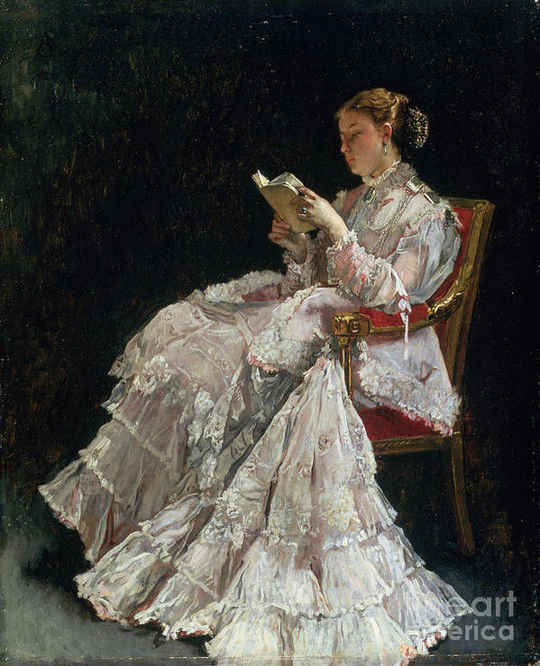 Woman Reading Print featuring the painting The Reader by Alfred Emile Stevens