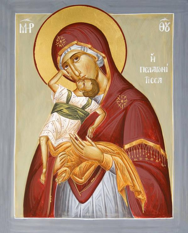 Theotokos Pelagonitisa Print featuring the painting Theotokos Pelagonitisa by Julia Bridget Hayes