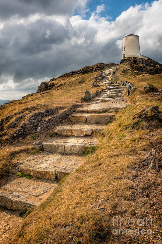 Anglesey Print featuring the photograph Lighthouse Steps by Adrian Evans