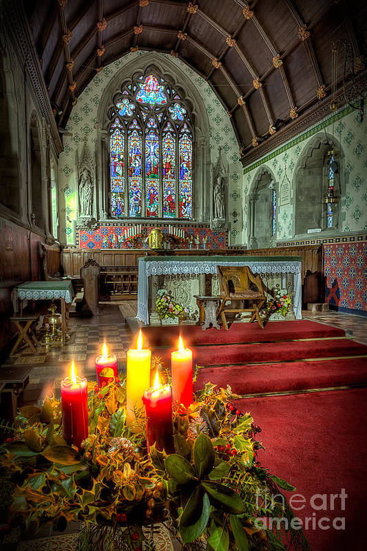 Altar Print featuring the photograph Christmas Candles by Adrian Evans