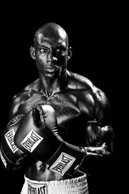 Boxer Print featuring the photograph Black Boxer In Black And White 05 by Val Black Russian Tourchin
