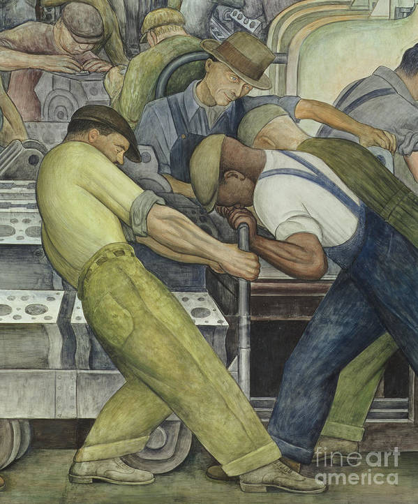 Fresco Print featuring the painting Detroit Industry North Wall by Diego Rivera