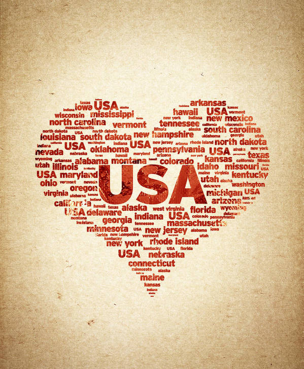 I Love Usa Print featuring the digital art I Love Usa by Aged Pixel