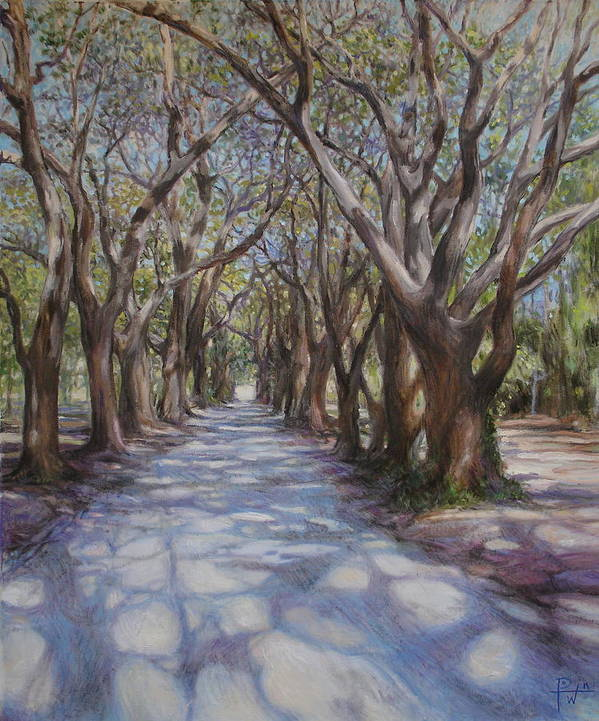 Avenue Print featuring the painting Avenue Of The Oaks by Henry David Potwin