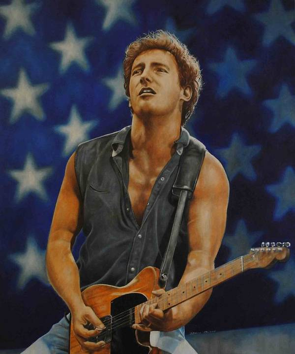 Bruce Springsteen Print featuring the painting Bruce Springsteen 'born In The Usa' by David Dunne