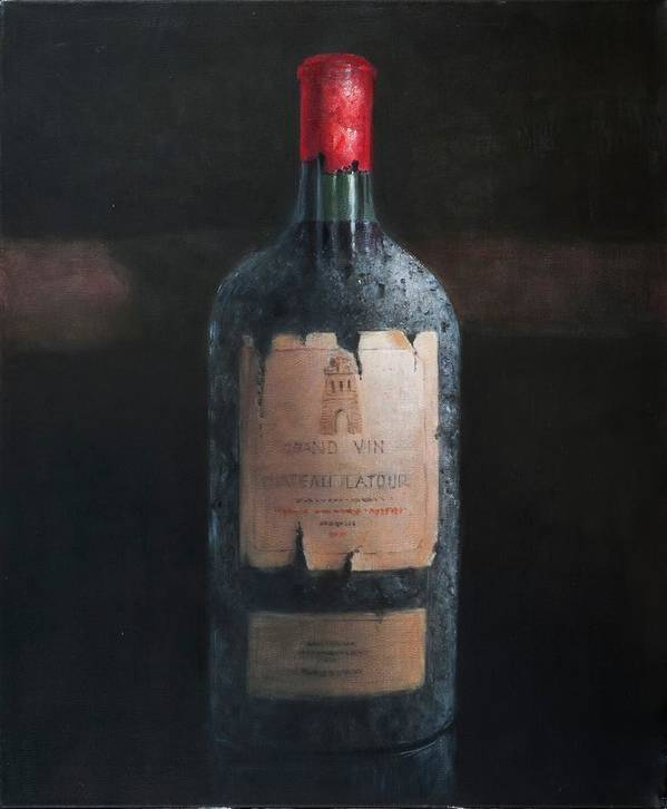 Chateau Latour; Wine; Red Wine; Wine Bottle; Bottle; Grand Vin; Collectible Wine; Celebrate; Celebration; Wine Print featuring the painting Chateau Latour by Lincoln Seligman
