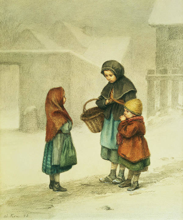 Basket Print featuring the painting Conversation In The Snow by Pierre Edouard Frere