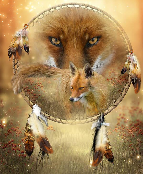 Carol Cavalaris Print featuring the painting Dream Catcher- Spirit Of The Red Fox by Carol Cavalaris