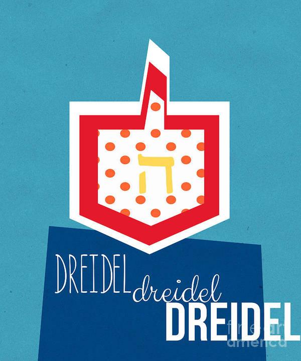 Dreidel Print featuring the mixed media Dreidels by Linda Woods
