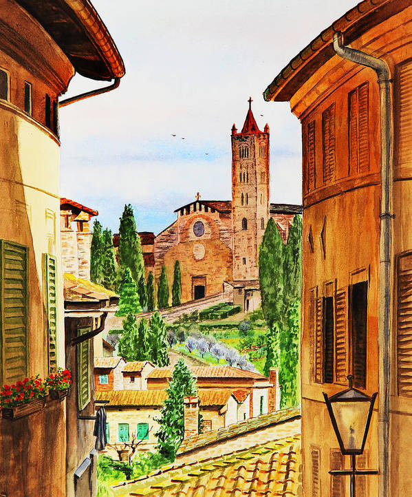 Siena Print featuring the painting Italy Siena by Irina Sztukowski