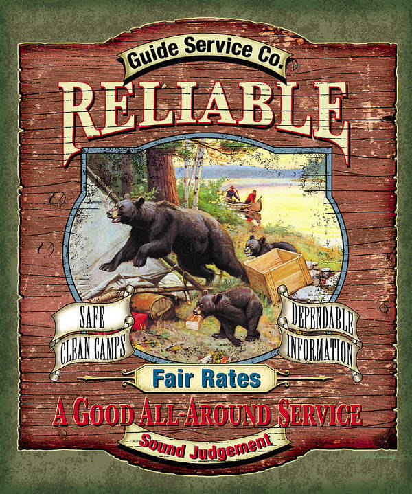 Philip Goodwin Print featuring the painting Reliable Guide Service Sign by JQ Licensing