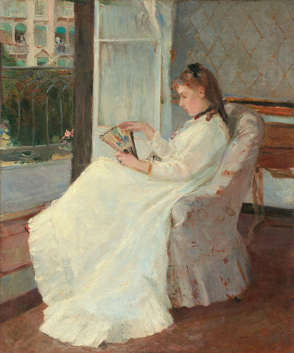 Artist's; Sister; Window; Seated; Interior; French; Windows; Open; Window; Full; Length; Absorbed; Immersed; Distracted; Thoughtful; Contemplative; Pensive; Gazing; Fan; White; Summer; Dress; Sunshine; Elegant; Fashion; Fashionable; Pure; Impressionist; Impressionism; Family; Observing; Observe; Observation; Berthe; Morisot; Ribbon; Hair Ribbon; Fan; Calm; Calming; Thinking; Frock; Frill; Frills; Indoors; Relaxing; Relaxed; Hair; Hairstyle; Curls; Girl; Woman; Young Lady; Innocent; Innocence Print featuring the painting The Artist's Sister At A Window by Berthe Morisot