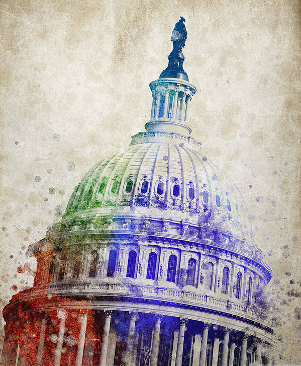 United States Capitol Dome Print featuring the digital art United States Capitol Dome by Aged Pixel
