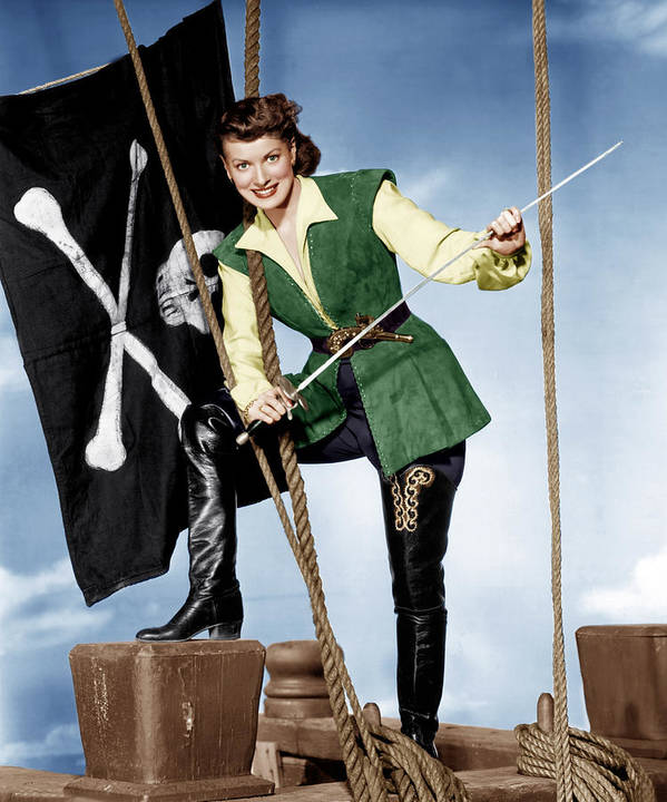 18th Century Print featuring the photograph Against All Flags, Maureen Ohara, 1952 by Everett