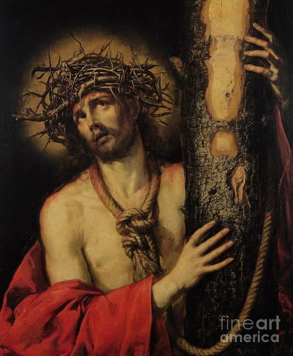 Jesus Print featuring the painting Christ Man Of Sorrows by Antonio Pereda y Salgado