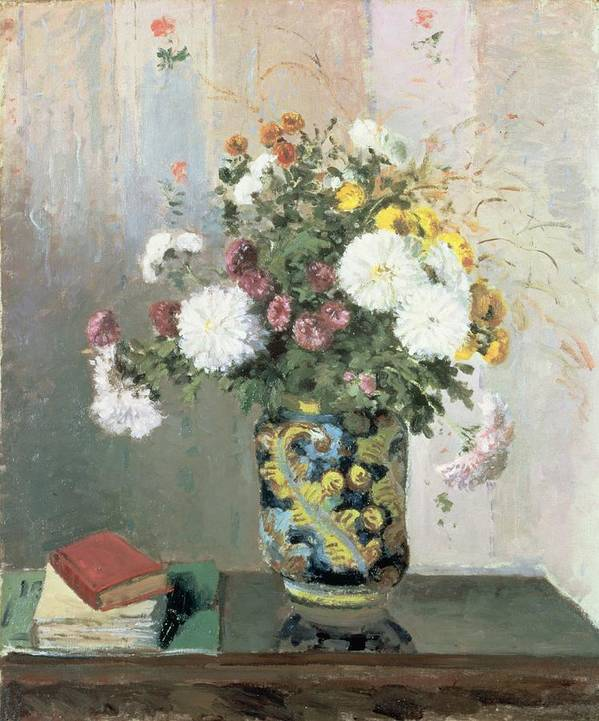 Bouquet Of Flowers Print featuring the painting Chrysanthemums In A Chinese Vase by Camille Pissarro