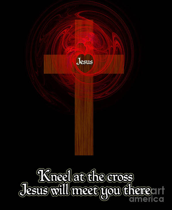 Kneel At The Cross Print featuring the painting Kneel At The Cross by Methune Hively
