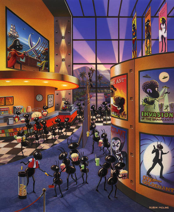 Ants. Ant Farm Characters Print featuring the painting Ants At The Movie Theatre by Robin Moline