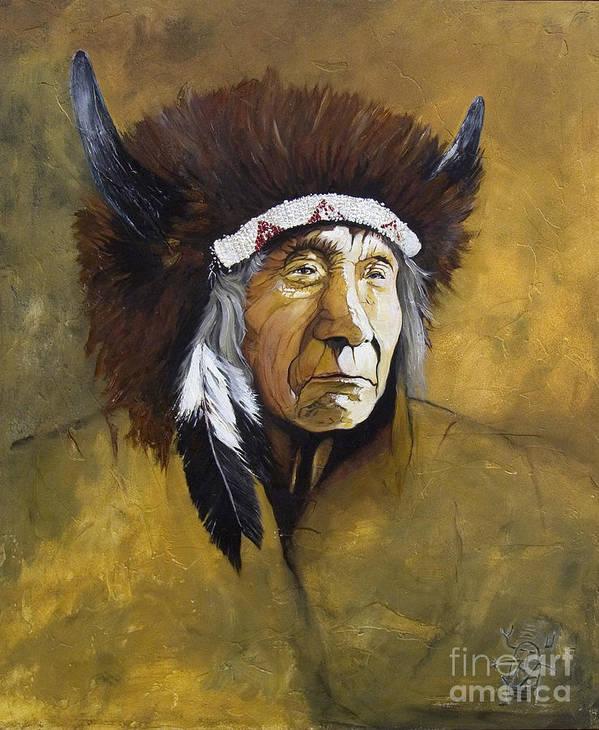 Shaman Print featuring the painting Buffalo Shaman by J W Baker