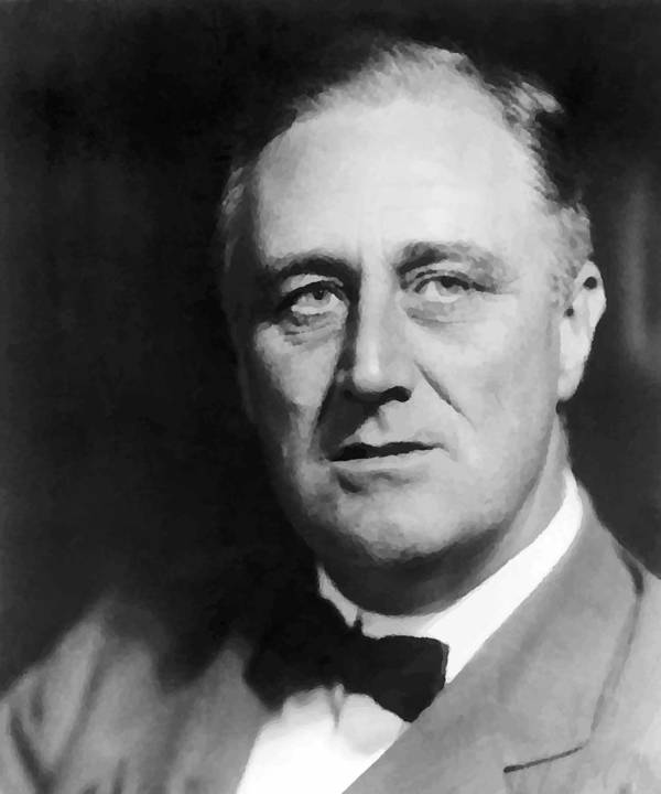 Franklin Roosevelt Print featuring the painting FDR by War Is Hell Store