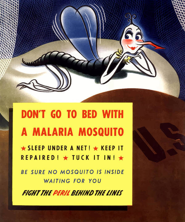 Mosquito Print featuring the painting Malaria Mosquito by War Is Hell Store