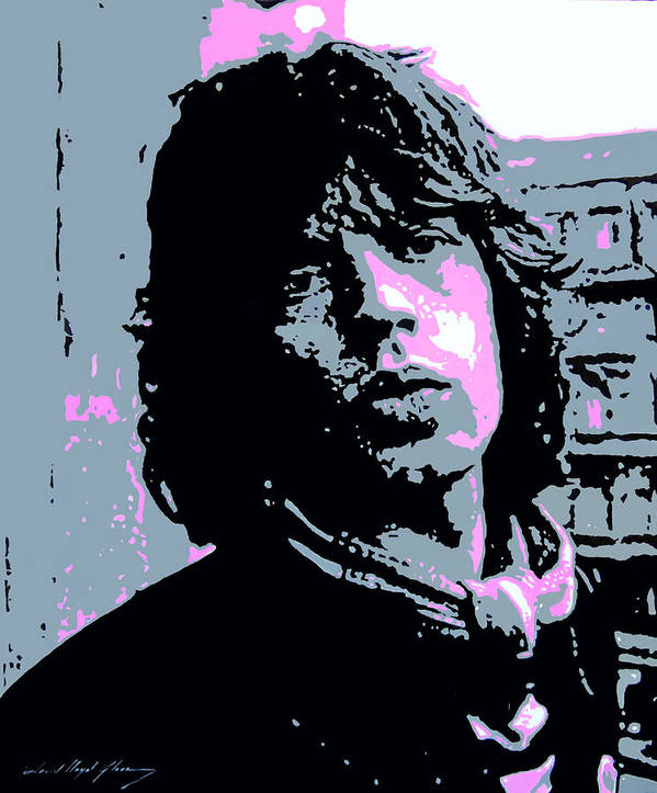 Mick Jagger Print featuring the painting Mick Jagger In London by David Lloyd Glover