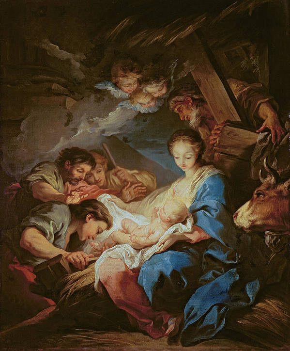 Light; Cherubs; Nativity Print featuring the painting The Adoration Of The Shepherds by Charle van Loo