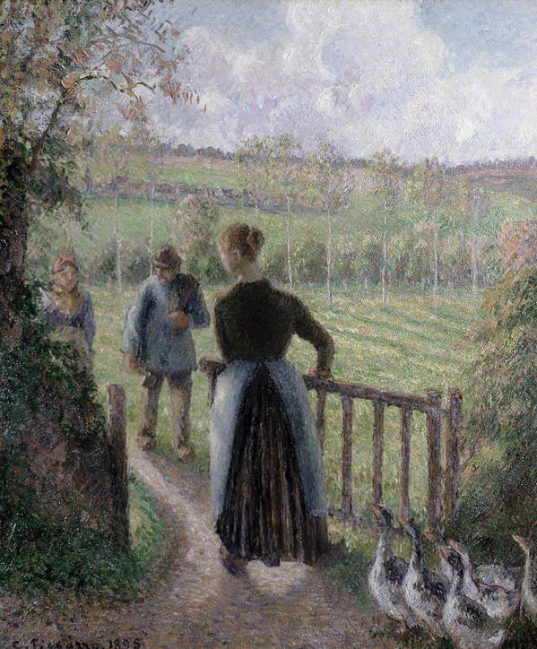 Camille Pissarro Print featuring the painting The Woman With The Geese by Camille Pissarro