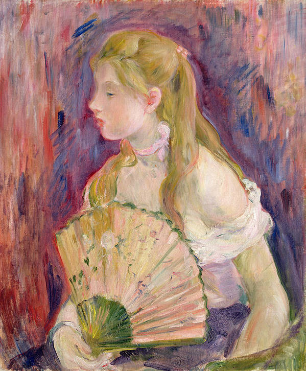 Young Print featuring the painting Young Girl With A Fan by Berthe Morisot