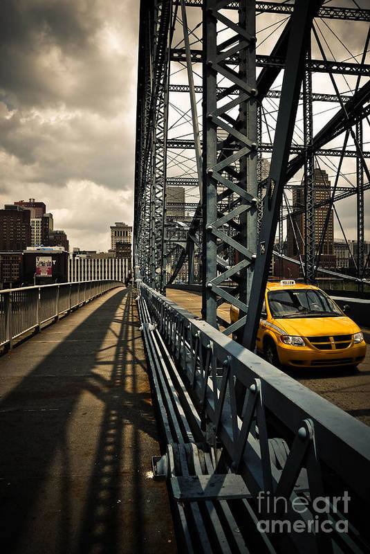 Allegheny County Print featuring the photograph Taxi Crossing Smithfield Street Bridge Pittsburgh Pennsylvania by Amy Cicconi
