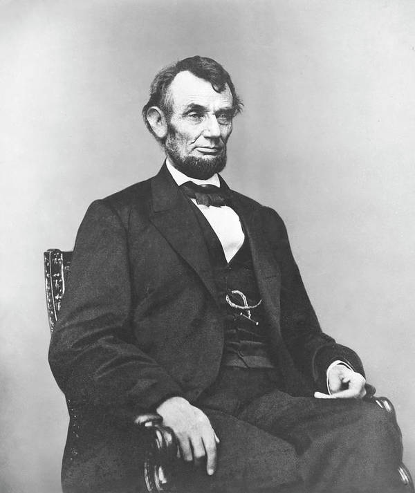 Abraham Lincoln Print featuring the photograph President Lincoln by War Is Hell Store
