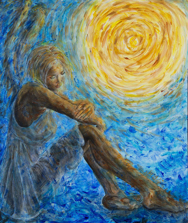 Angel Print featuring the painting Angel Moon II by Nik Helbig