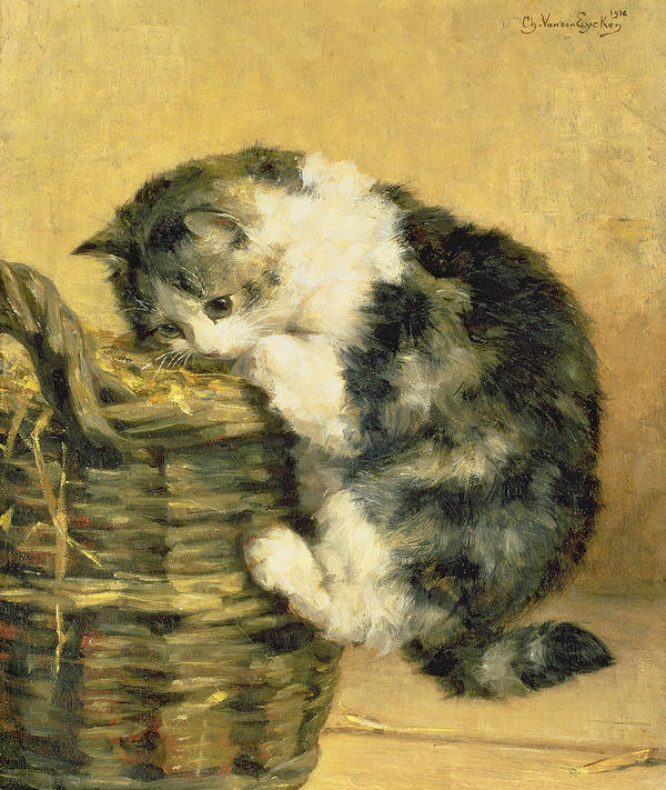 Cat Print featuring the painting Cat With A Basket by Charles Van Den Eycken