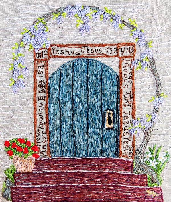 Door Print featuring the tapestry - textile Door With Many Languages by Stephanie Callsen