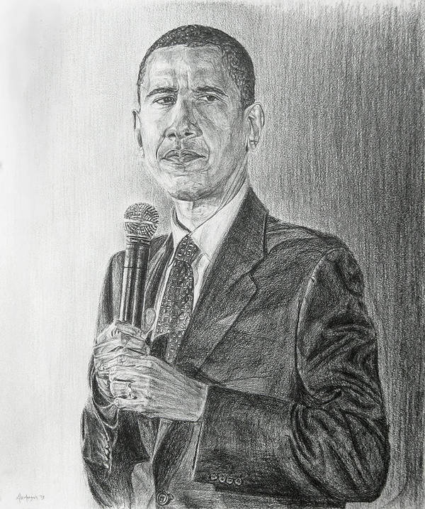 Obama Print featuring the drawing Obama 3 by Michael Morgan