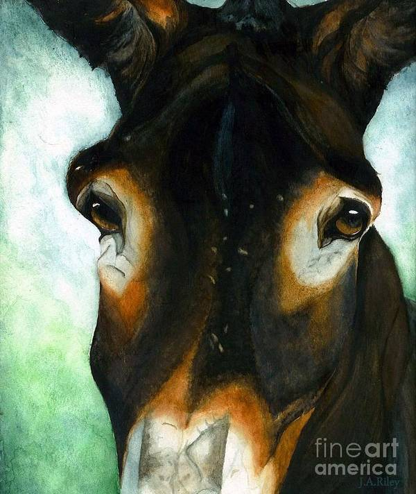 Mule Print featuring the painting Pete The Mule by Janine Riley