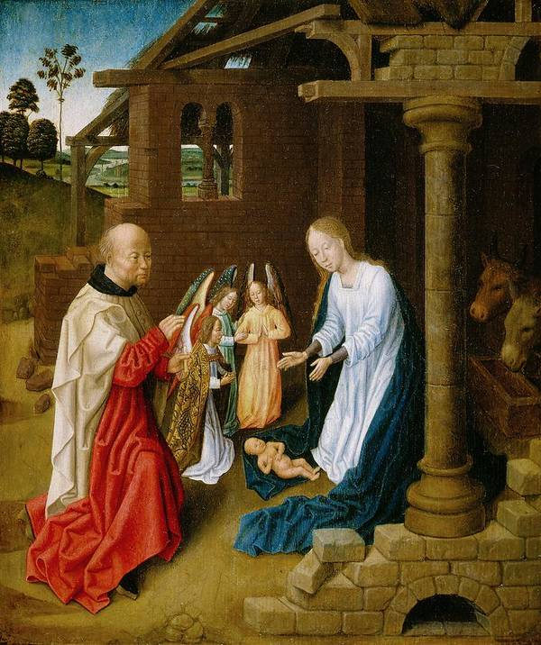 Adoration Print featuring the painting Adoration Of The Christ Child by Master of San Ildefonso