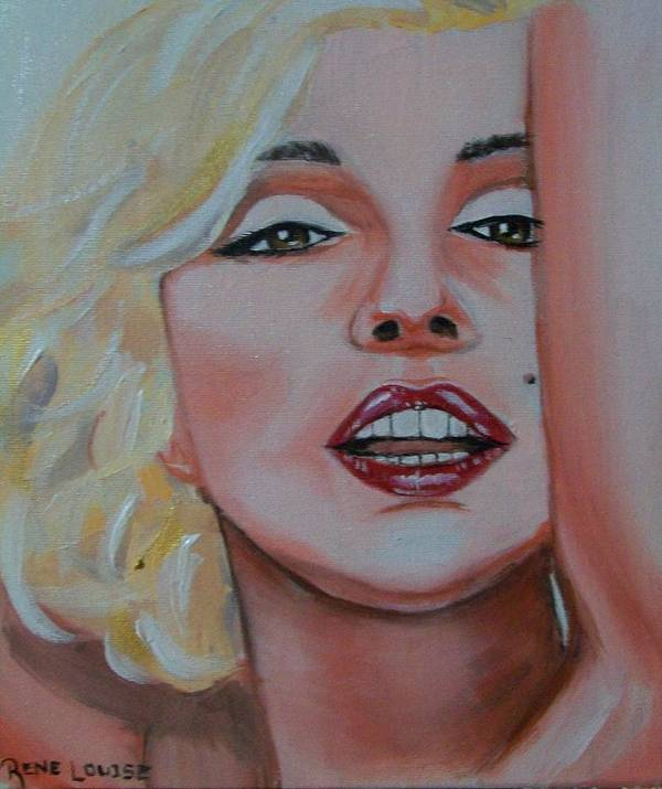 Marilyn Munroe Print featuring the painting Marilyn by Reneza Waddell