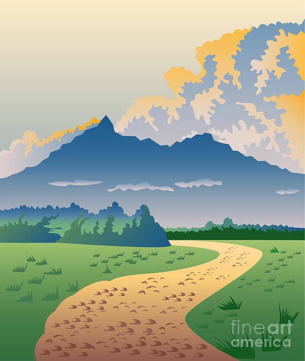 Illustration Print featuring the digital art Road Leading To Mountains by Aloysius Patrimonio