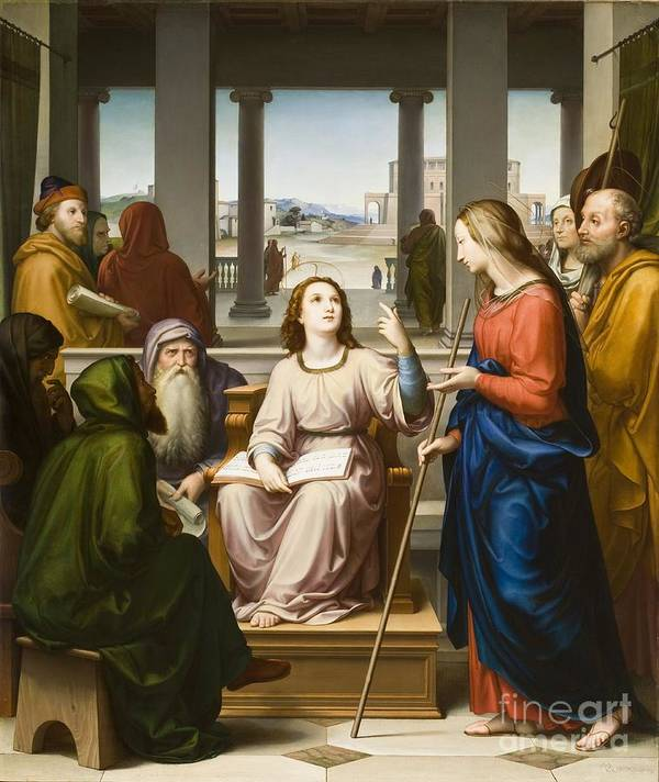 Jesus Christ Print featuring the painting Christ Disputing With The Doctors In The Temple by Franz von Rohden