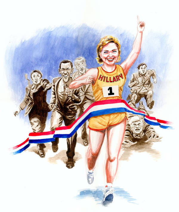 Hillary Clinton Print featuring the painting Hillary And The Race by Ken Meyer jr