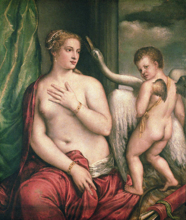 Leda Print featuring the painting Leda And The Swan by Titian