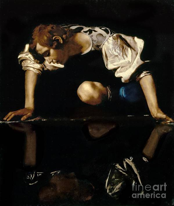 Narcissus Print featuring the painting Narcissus by Caravaggio