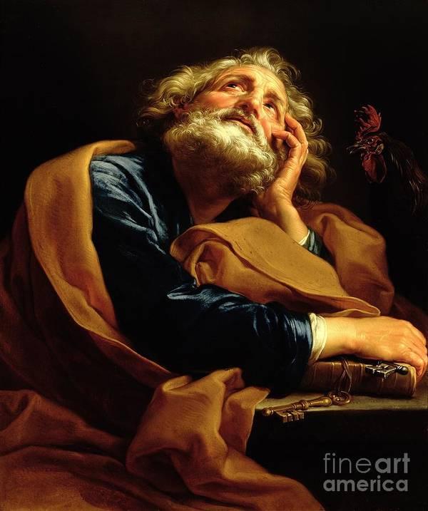 St Peter (oil On Canvas) Saint; Male; Beard; Pensive; Keys Of Heaven; Key; Book; Apostle Print featuring the painting St Peter by Pompeo Girolamo Batoni