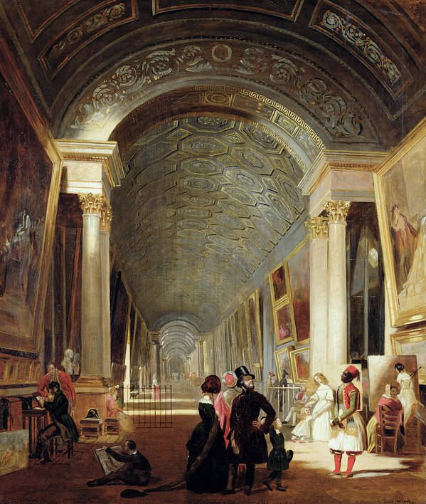 View Print featuring the painting View Of The Grande Galerie Of The Louvre by Patrick Allan Fraser