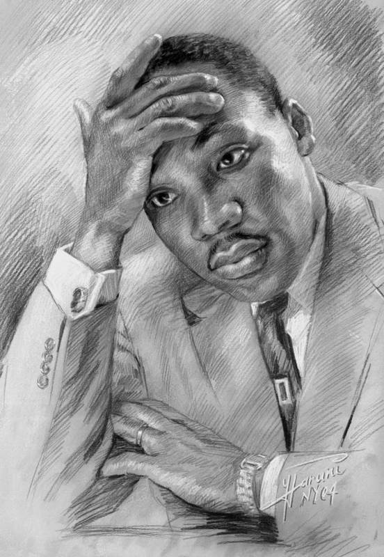 Martin Luther King Jr Print featuring the drawing Martin Luther King Jr by Ylli Haruni