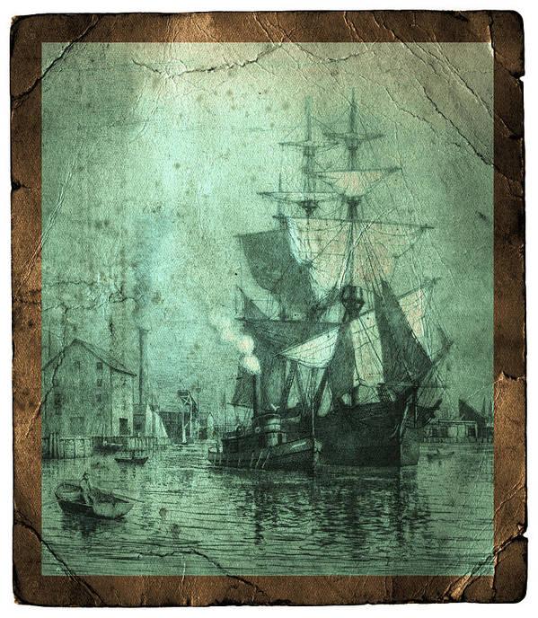 Schooner Print featuring the photograph Grungy Historic Seaport Schooner by John Stephens