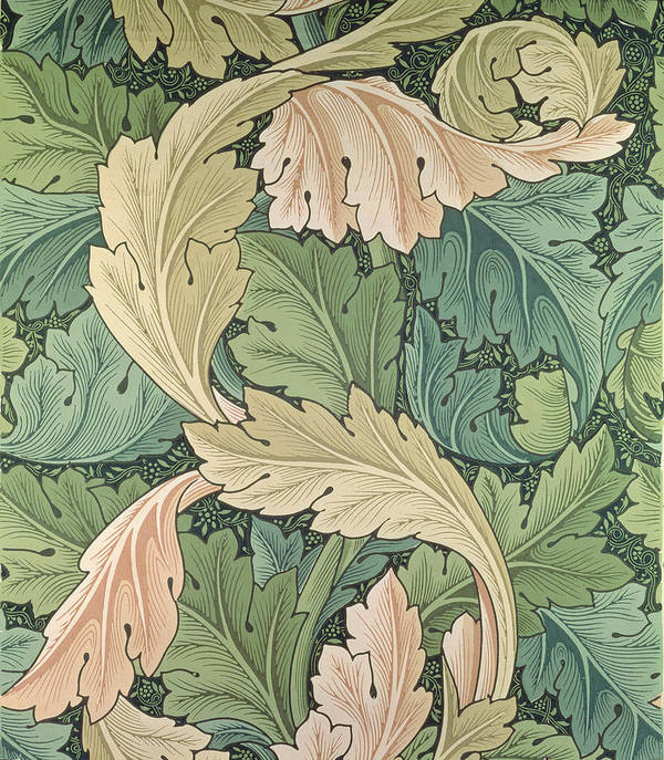 Arts And Crafts Movement Print featuring the tapestry - textile Acanthus Wallpaper Design by William Morris